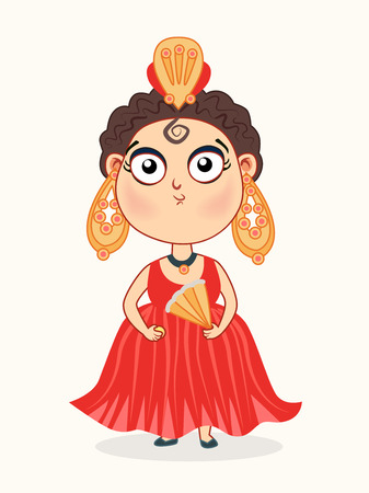Cute baby girl in a red carnival dress  illustration. Illustration