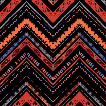 Stripes bright tribal seamless pattern with zigzag. Illustration