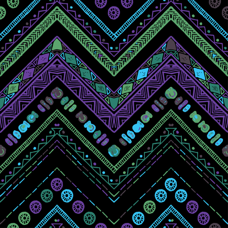 Stripes bright tribal seamless pattern with zigzag