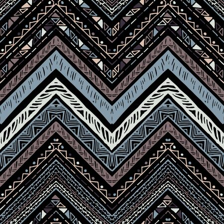 Stripes bright tribal seamless pattern with zigzag Vector illustration.