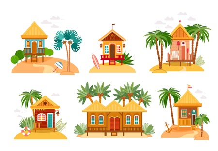 Collection de maisons de plage de paillotes et bungalows. Banque d'images - 96319372
