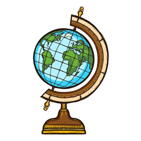 School globe isolated. Elementary school equipment Illustration