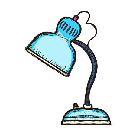 Blue desk lamp isolated on white background.