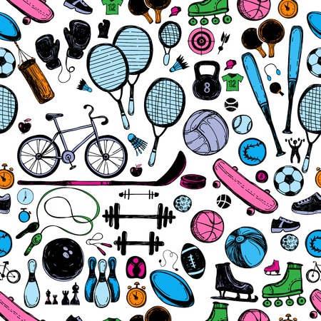 Sport sketch equipment seamless pattern. Hand drawn doodle icon background of recreation and leisure. Vector illustration