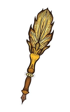 Feather fountain pen vector illustration