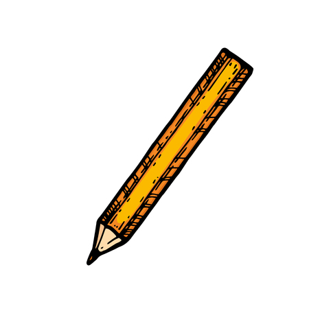 Vector illustration of sharpened detailed pencil