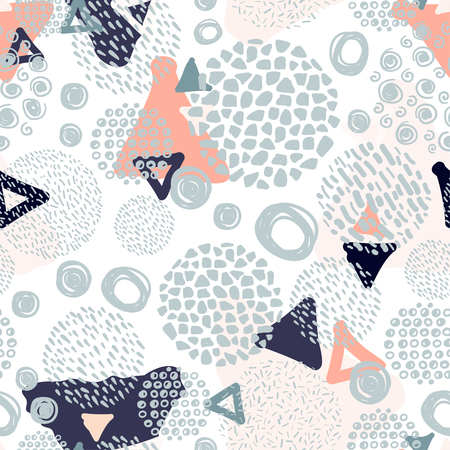 Trendy scribbles seamless pattern in pastel colors.