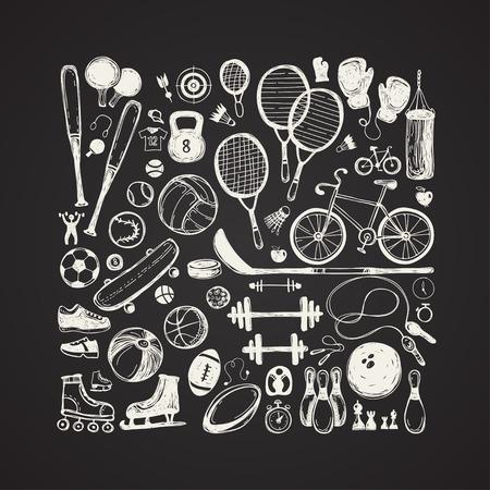 Sport sketch equipment. Hand drawn