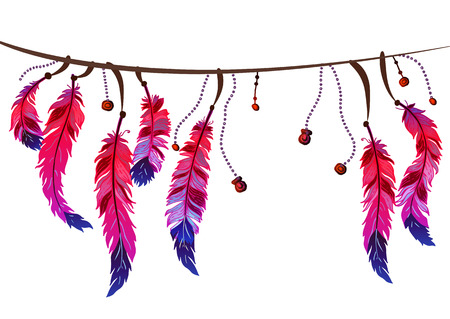 Seamless border with feathers and crystals Illustration