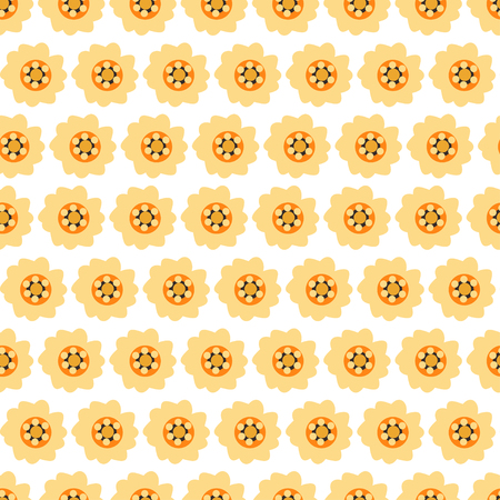 Seamless background with isolated daisy flowers on yellow. Vector illustration.