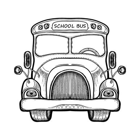 Vector autobús escolar amarillo aislado sobre fondo blanco. Concepto de escuela primaria. Equipo de ilustración dibujado a mano para educación continua. Suministros universitarios. Libro de colorear para adultos