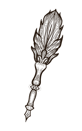 Feather fountain pen. Colored sketch style ancient pen isolated on white background. Hand drawn illustration equipment for education. Art College supplies. Coloring book for adults