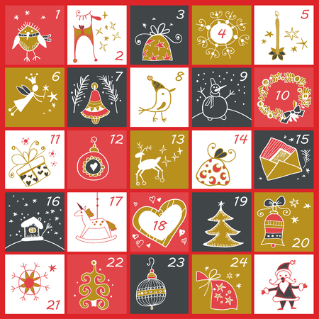 Christmas advent calendar. Winter holidays poster with christmas symbols. Vector illustration. Gold and red colors.