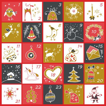 Kalendarz adwentowy na Boże Narodzenie. Zimowe wakacje plakat z symboli Bożego Narodzenia. Ilustracja wektorowa. Kolory złoty i czerwony.
