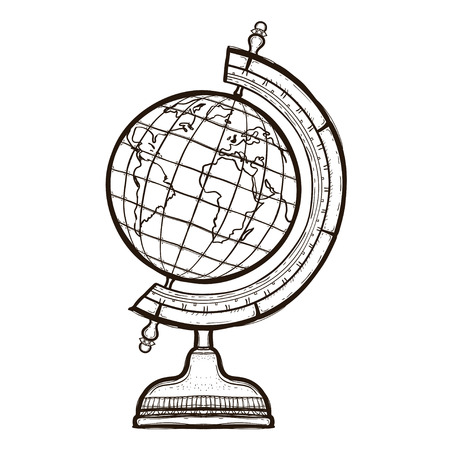 School globe isolated. Retro elementary school Concept. Hand drawn illustration equipment for continuing education. College supplies. Coloring book for adults