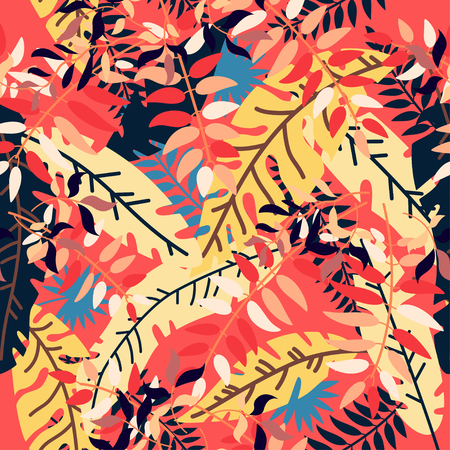 Tropical autumn leaves. Floral vector illustration. Exotic jungle background. Trend graphics. Seamless pattern with fall leaves. Forest background. Colors of harvest