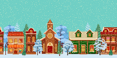 Snowy christmas street. Winter city panorama. Cartoon town at holiday eve.Vector flat illustration. Buildings decorated for New Year or Christmas celebration. Colored holiday banner Vettoriali