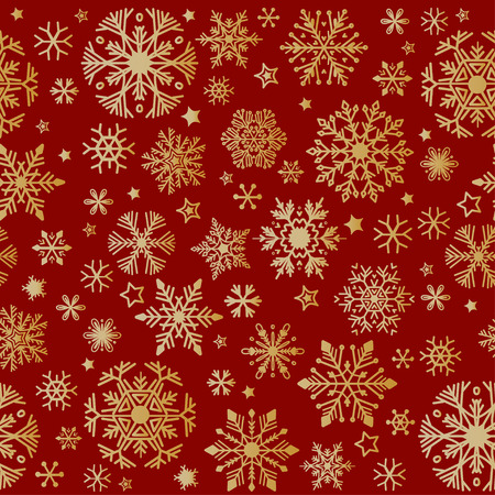 Snow pattern on red background. Vector Illustration. Winter Doodles. Xmas decoration