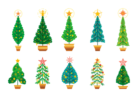 Winter vector set of cartoon Christmas tree. Different fir tree collection in flat style. Christmas ornaments. Xmas set of design elements isolated on white background Ilustração