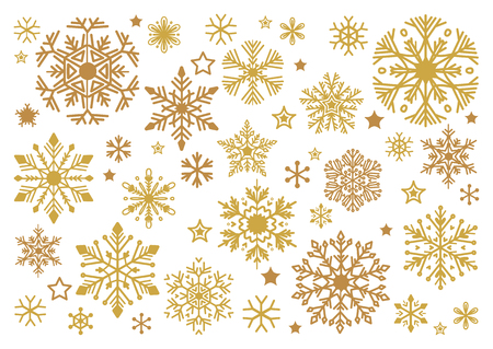 Golden snowflakes set. Elegant Christmas snow crystal collection in flat style. Isolated ornament, new year toy over white background. Vector Xmas cartoon design elements