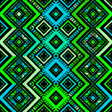 Seamless ethnic UFO Green zigzag chevron pattern. Hand drawn colorful geometric background. Striped tribal motifs. Vector illustration