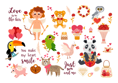 Big Valentines Day set with love elements and characters in cartoon style isolated on white background. Decoration valentines day. Love Stickers animals collection - Vector illustration Illustration