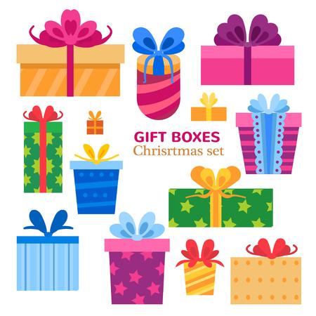 Vector conjunto de diferentes cajas de regalo. Diseño plano. Ilustración de vector