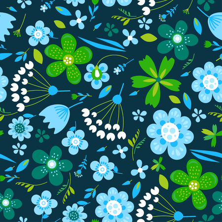 Amazing floral vector seamless pattern of bright colorful flowers in cute vintage style.Beautiful colorful flowers background. Spring primitive texture. Design folk style concept for fashion print. 向量圖像