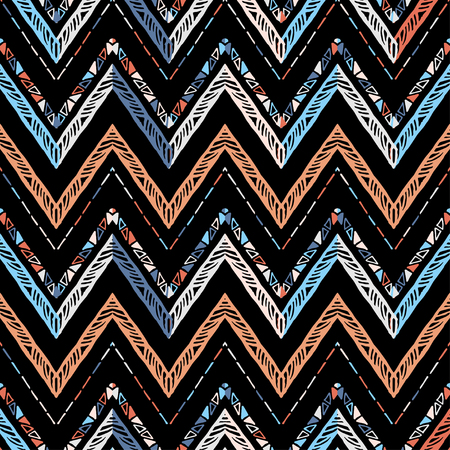 Seamless ethnic zigzag chevron pattern. Hand drawn colorful geometric background. Striped tribal motifs. Vector illustration