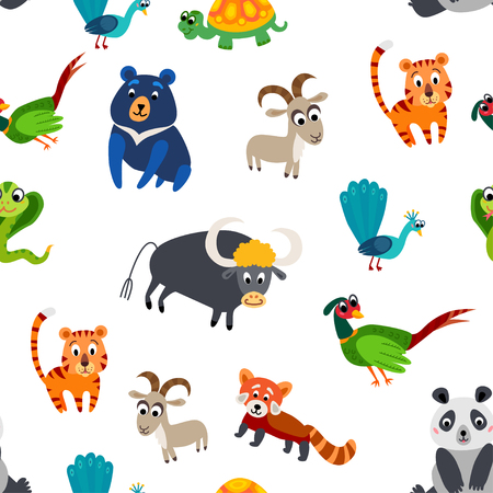 Wild Asia animals seamless pattern. Asian cute drawing animal in flat style isolated on white. Including peacock, panda, Himalayan bear, pheasant, turtle, Mountain goat, red panda, tiger, snake cobra