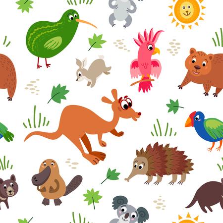 Wild Australia animals seamless pattern. Australian cute drawing animal in flat style isolated on white. Including echidna, cockatoo parrot, Tasmanian devil, wombat, koala, platypus, Kiwi bird,