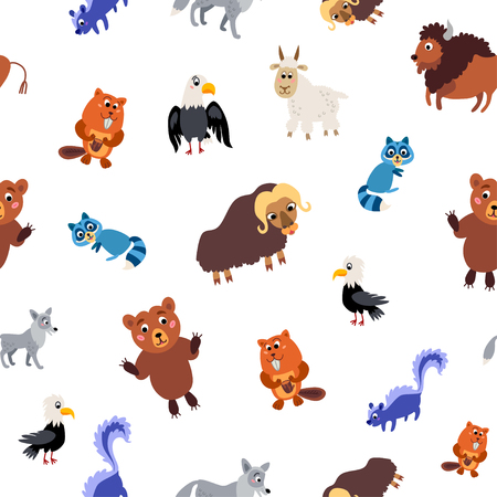 Wild North America animals seamless pattern in flat style