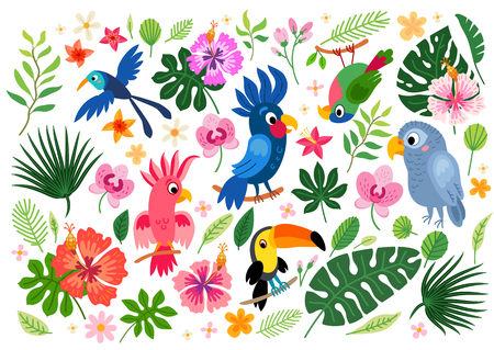 Tropical collection for jungle party or tropical wedding. Vector isolated elements on the white background. Summer cartoon character parrots, and exotic flowers, leaves. Brazil jungle flora in flat