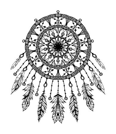 Hand drawn bohemian vector Dreamcatcher with gemstones and feathers. Ethnic hipster illustration with native American Indian chic design, tribal symbol. Coloring book for adults, gypsy dream catcher.