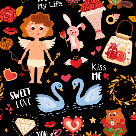 Seamless pattern with love elements. Vector illustration for Valentine's day. Romantic design with hearts, angel cupid, love letter, heart lock, rabbit and rose, bird, cactus, bouquet of flowers, swan Ilustrace