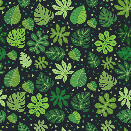 Tropical leaves vector pattern. Summer equatorial rainforest with foliage. Exotic jungle leaves floral background. Trend graphics. Green paradise.