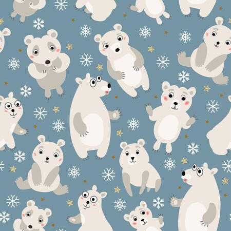 Polar bear Seamless Pattern. Arctic animals. Vector childish illustration. Cartoon characters in flat style. Wrapping, notebooks, labels, accessories-school. Standard-Bild - 124547209