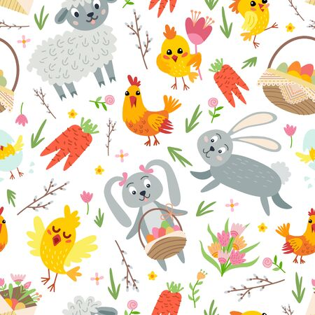 Easter seamless pattern. Holiday vintage background with cartoon Easter symbol. Zdjęcie Seryjne - 128720421