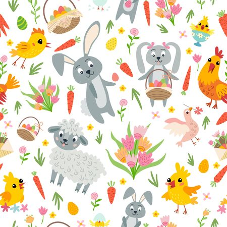 Easter seamless pattern. Holiday vintage background with cartoon Easter symbol. Ilustracja