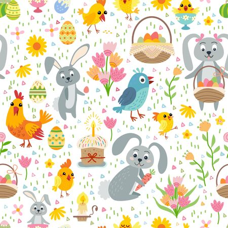Easter seamless pattern. Holiday vintage background with cartoon Easter symbol. 일러스트