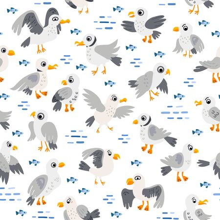 Seagull Seamless Pattern. Coast, sea. Vector illustration. Seabirds in flat style. The design concept for children. Wrapping, notebooks, labels, accessories-school.