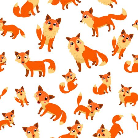 Fox nursery Seamless Pattern. Vector illustration background Çizim