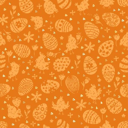 Seamless childish pattern with cute bunny chickens, eggs silhouette.
