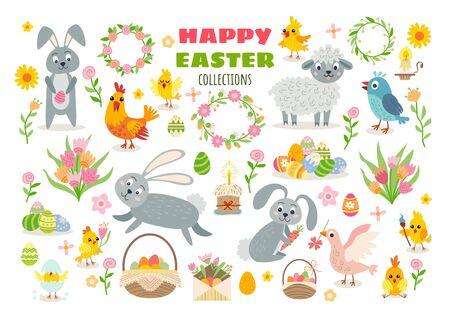 Ensemble de personnages de dessins animés de Pâques et d'éléments de conception Vecteurs