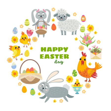 Easter Flat Icons Set. Cartoon background with circle shaped made from different elements: rabbit, sheep, chicken, hen, eggs, flowers. Holiday card.