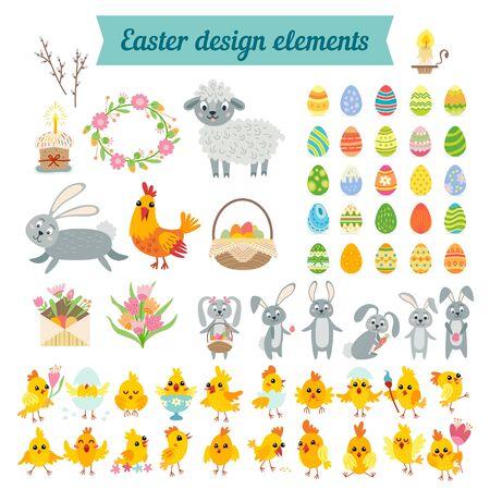 Set of easter cartoon characters and design elements Foto de archivo - 138470747