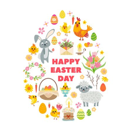 Easter Flat Icons Set. Cartoon background with egg shaped made from different elements: rabbit, sheep, chicken, hen, eggs, flowers. Holiday card. Illusztráció