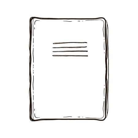 Notebook school isolated on white background. Top. Hand drawn illustration equipment for education. Art College supplies. Vintage book. Coloring book for adults