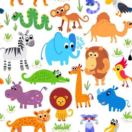 Wild Africa animals seamless pattern in flat style