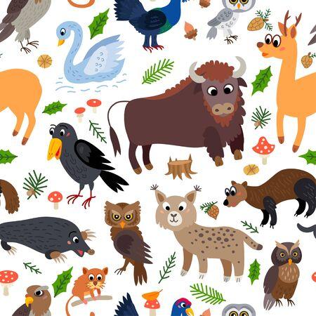 Wild Europe animals seamless pattern in flat style Illustration